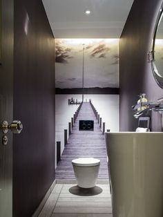 No tiles in the guest bathroom. The small room gets a great depth effect. # Guest toilet - ALL ABOUT Small Toilet Room, Guest Toilet, Downstairs Toilet, Small Wc Ideas Downstairs Loo, Small Toilet Design, Downstairs Cloakroom, Bathroom Interior, Modern Bathroom, Mauve Bathroom