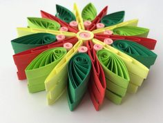 Snowflakes Green Yellow Red Christmas Tree Decoration Winter Ornaments Gifts Toppers Fillers Office Corporate Paper Quilling Quilled Art