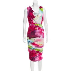 Pre-owned Alice + Olivia Draped Watercolor Dress ($70) ❤ liked on Polyvore featuring dresses, red, red cocktail dress, red midi dress, midi cocktail dress, draped midi dress and colorful cocktail dress