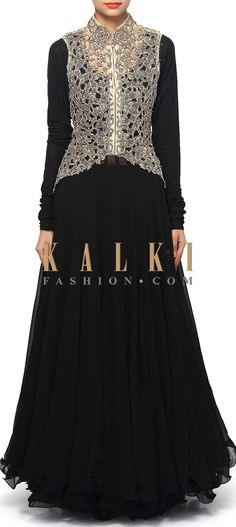 Buy Online from the link below. We ship worldwide (Free Shipping over US$100). Product SKU - 312210.Product Link - http://www.kalkifashion.com/black-anarkali-suit-matched-with-cut-work-jacket-only-on-kalki.html