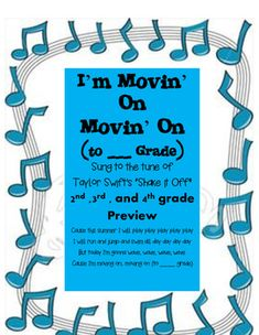 """This version of the graduation songs is geared toward older elementary students. It is an end of year song to the tune of Taylor Swift's """"Shake it Off"""". I perform this with kindergarten students which you can find the kindergarten version on my page."""