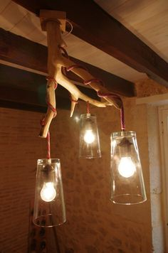 Lamp made with recycled climbing rope and an old branch. Lamp Light, Light Up, Rope Lamp, Climbing Rope, Mason Jar Lamp, Lampshades, Creative Design, Lightning, Home Improvement