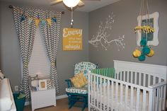 Sweet Child's Nursery Design In Gray, Blue And Yellow #neutral #nursery #design