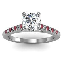 Cathedral Channel set Ruby & Diamond Engagement Ring in 18k White Gold