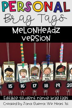 Brag Tags have been a game changer in my class. These editable brag tag templates use Melonheadz clip art and will personalize your student displays in a fun way that your students will LOVE! A fun way to identify your brag tag necklaces!