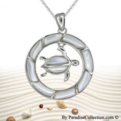Sterling Silver Hawaiian White Mother of Pearl Shell Honu (Sea Turtle) in Circle Pendant