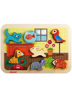 Our Animals Chunky Puzzle is complete when each little animal finds its spot on the puzzle. We like that this puzzle can also function as a stacking toy -- just stack the chunky pieces up high! This lovely wooden puzzle was designed in France by Janod. Toddler Toys, Baby Toys, Kids Toys, Children's Toys, Puzzles 3d, Wooden Puzzles, Wooden Blocks, Puzzles For Toddlers, Pets