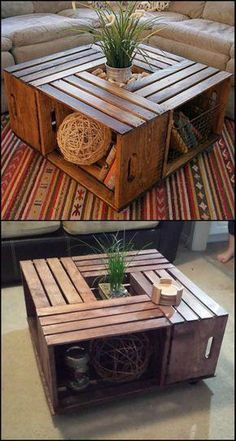 Do you want a rustic coffee table in your living room? Why not DIY this beautiful crate coffee table! Making your own crate coffee table is a DIY project you can do in just one afternoon. Learn how to build one from this step-by-step tutorial: decor Living Furniture, Home Furniture, Furniture Ideas, Modern Furniture, Furniture Design, Furniture Stores, Business Furniture, Furniture Outlet, Diy Living Room Furniture