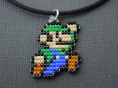 Luigi Necklace Seed Bead Video Game Jewelry Nintendo by Pixelosis, $15.00