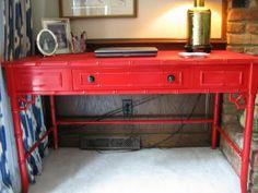 Red enamel Rustoleum - for the vintage chippendale style desk I bought for Eva's room..