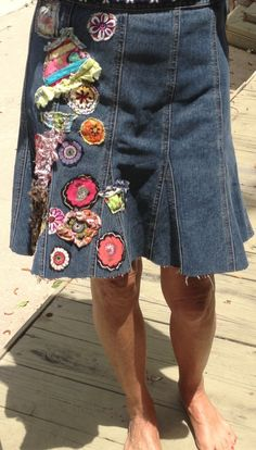 denim hippie jean skirt recycled patchwork applique' by SewUnruly