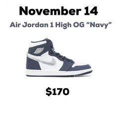 "Gefällt 4,985 Mal, 35 Kommentare - Release Info Plug (@dropinfos) auf Instagram: ""Air Jordan 1 High OG ""Navy"" now has a release date of November 14. Originally released as a JP…"" Shoe Releases, Jordan 1 High Og, Nike Free, Air Jordans, November, Sneakers Nike, Navy, Shoes, Instagram"
