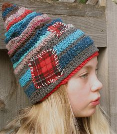 hat. I would not stitch the patches on... love the wonky lines and colors