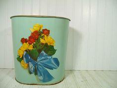 Vintage DecoWare Sea Foam Enamel & Flowers Litho by DivineOrders, $23.00