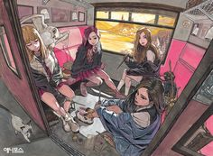 Blackpink going to Hogwarts Bd Pop Art, Perspective Art, Harry Potter Anime, Fanarts Anime, Kpop Fanart, Aesthetic Art, Cute Art, Art Inspo, Art Girl