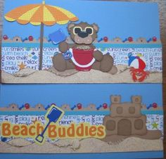 Girl or Boy BEACH BUDDIES paper piecing premade Border for Scrapbook Pages SPPD | eBay