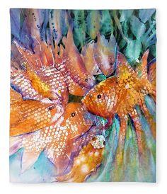 Goldfish Pond Chatroom Fleece Blanket featuring the painting Goldfish Pond Chatroom by Sabina Von Arx Blankets For Sale, Soft Blankets, Watercolor Paintings, Original Paintings, Goldfish Pond, Season Colors, Painting Techniques, Color Show