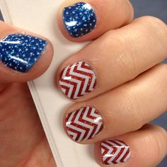 """We are obsessed with this Red White & Blue look! This mani features our Red Sparkle under White Chevrons. and our Sapphire Blue Sparkle under White Mini…"""