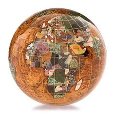 Kalifano Copper Amber 4-in. Gemstone Globe Paperweight