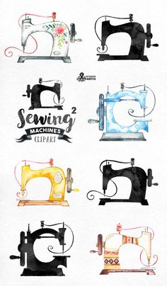 Sewing Machines 2 Watercolor Clipart. 8 Hand painted images, black silhouettes…