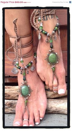 SALE Green cabochon stone Barefoot Sandals anklets gypsy hippie Boho style beaded foot jewelry accessory ~MINE!!! I love Etsy!~