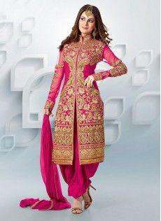 Shraddha Arya Style Magenta Georgette Patiala Suit