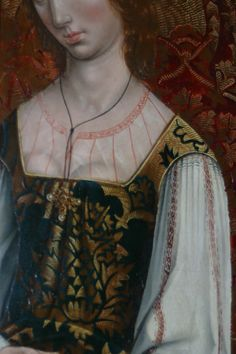 "detail of the Camisa and Habito on the bride in the painting ""Marriage at Cana"" by the Masters of the Catholic Kings in the National Museum of Art, Washington DC. Note the rolled pleating at the neckline."