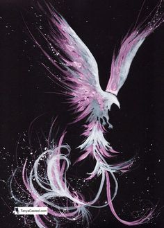 Galactic Black Phoenix Art Print, cosmic animal watercolor