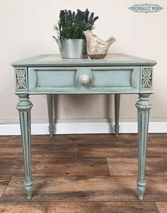 Painted end table / side table. Robin Egg ASCP & dark wax??