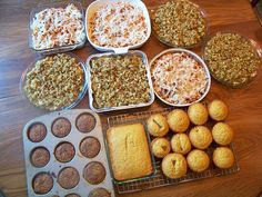 Chicken Stuffing Casserole, Corn Dog Muffins, Honey Cornbread, Oatmeal Raisin Muffins, Italian Pasta Bake. Prepared in 2 hours and put away for meals during the week. Awesome!