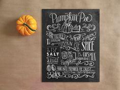Pumpkin Pie Recipe  Fall Decor  Thanksgiving Decor by LilyandVal