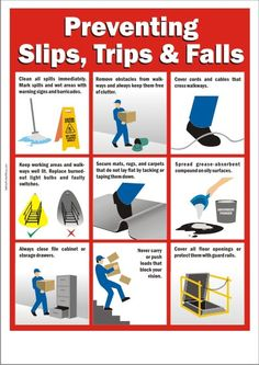 Workplace Safety Poster - Preventing Slips, Trips and Falls Fire Safety Poster, Health And Safety Poster, Safety Posters, Office Safety, Workplace Safety Tips, School Safety, Safety Pictures, Safety Meeting, Safety Slogans