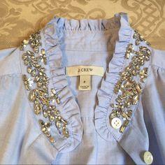 J.crew top Beautiful J.crew sleeveless baby blue shirt with beautiful rhinestones collar , button up J. Crew Tops Blouses