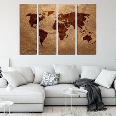 Τετραπτυχος πινακας σε καμβα παγκοσμιος χαρτης σε καφε αποχρωσεις - Ninesix.gr