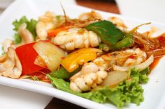 Fried spicy squid with lemongrass