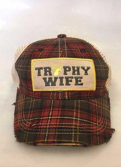 Judith March Trophy Wife Plaid Trucker Hat 930H-TROPHY