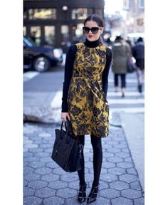 Turtleneck under dress, great fall outfit. I love the shoes... Valentino