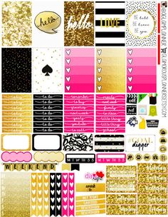 Glam Gold and Black Happy Planner Planner Stickers Glamorous