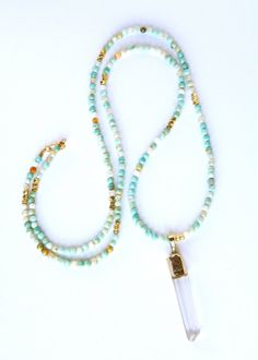 Long faceted agate gemstone necklace in by Studio3712Jewelry