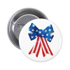 #country - #USA Flag Red White and Blue Bow Ribbon Pinback Button