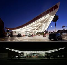 Some high flyin' Googie style! The Union 76 gas station in Los Angeles California designed by architect Gin Wong (of William L. Pereira & Associates). Rumor has it that Wong didn't design this as gas station canopy but actually designed it earlier for LAX, but it ended up being unused in the airport project. Built but having to purpose for a time it eventually ended up here where it is still in use today. Photo: flickr/chimay bleue