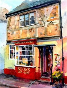 Watercolour illustration Bookshop by John Walsom Art Watercolor, Watercolor Landscape, Watercolor Illustration, Art Prints For Sale, Fine Art Prints, Perspective Artists, Watercolor Architecture, Urban Sketching, Illustrations