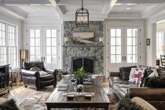Coffered ceiling + windows + stone