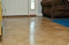How to stain concrete floors - DIY Stained Concrete Floors Living Room. I'm really planning on doing this to my living room floor. Diy Concrete Stain, Painted Concrete Floors, Painting Concrete, Stained Concrete, Concrete Bedroom, Floor Painting, Concrete Color, Concrete Projects, Rustic Homes