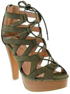 8ef1e12db72 Top Moda Table 8 Peep Toe High Heel Lace Up Strappy Pumps Olive 7