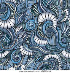 Seamless abstract hand-drawn waves pattern by balabolka, via ShutterStock