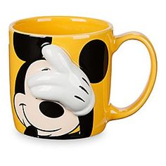 Mickey Mouse Dimensional Mug | Disney Store Wake up, open your eyes and grab a jolt of java served up hot and sunny in this Mickey Mouse mug featuring Mickey's raised, dimensional, white-gloved hand.