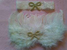 White Baby Girl Newborn Angel Wings Bow Jewels Photo Photography Prop USA SELLER