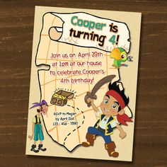Jake and the Neverland Pirates Birthday Invitations / Digital File / You Print. $7.50, via Etsy.