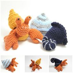 Crochet Amigurumi Ideas Hermit Crab with Removable Shells. FREE crochet pattern by Homemade by Giggles. Includes crab pattern and 3 different shells (spiral, conch, snail). Great toy for kids. Crochet Amigurumi, Amigurumi Patterns, Crochet Dolls, Crochet Yarn, Crochet Patterns, Crochet Snail, Cute Crochet, Crochet Crafts, Yarn Crafts